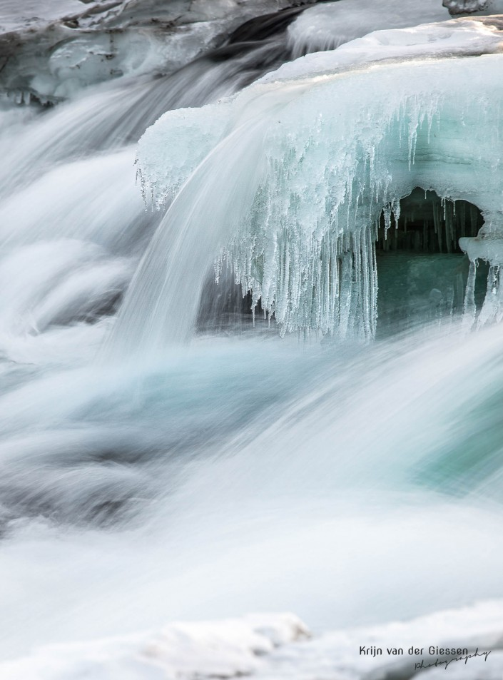 Frozen waterfall Storforsen in Swedish lapland by Krijn van der Giessen