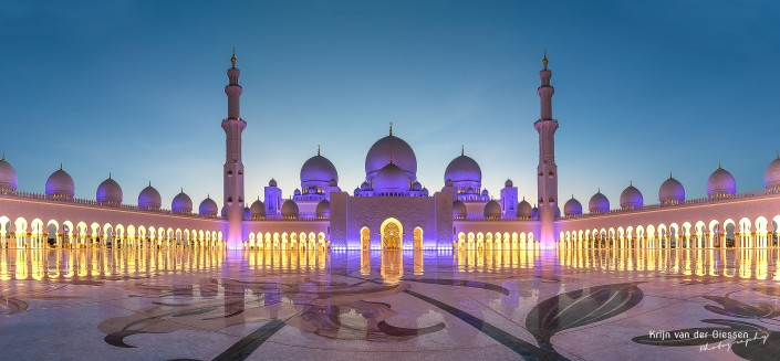 Grand Mosque Sheikh Zayed Abu Dhabi lit up during sunset