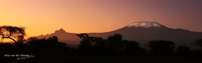 Kilimanjaro in Sunrise seen from Amboseli National Parl copyright by Krijn van der Giessen Photography