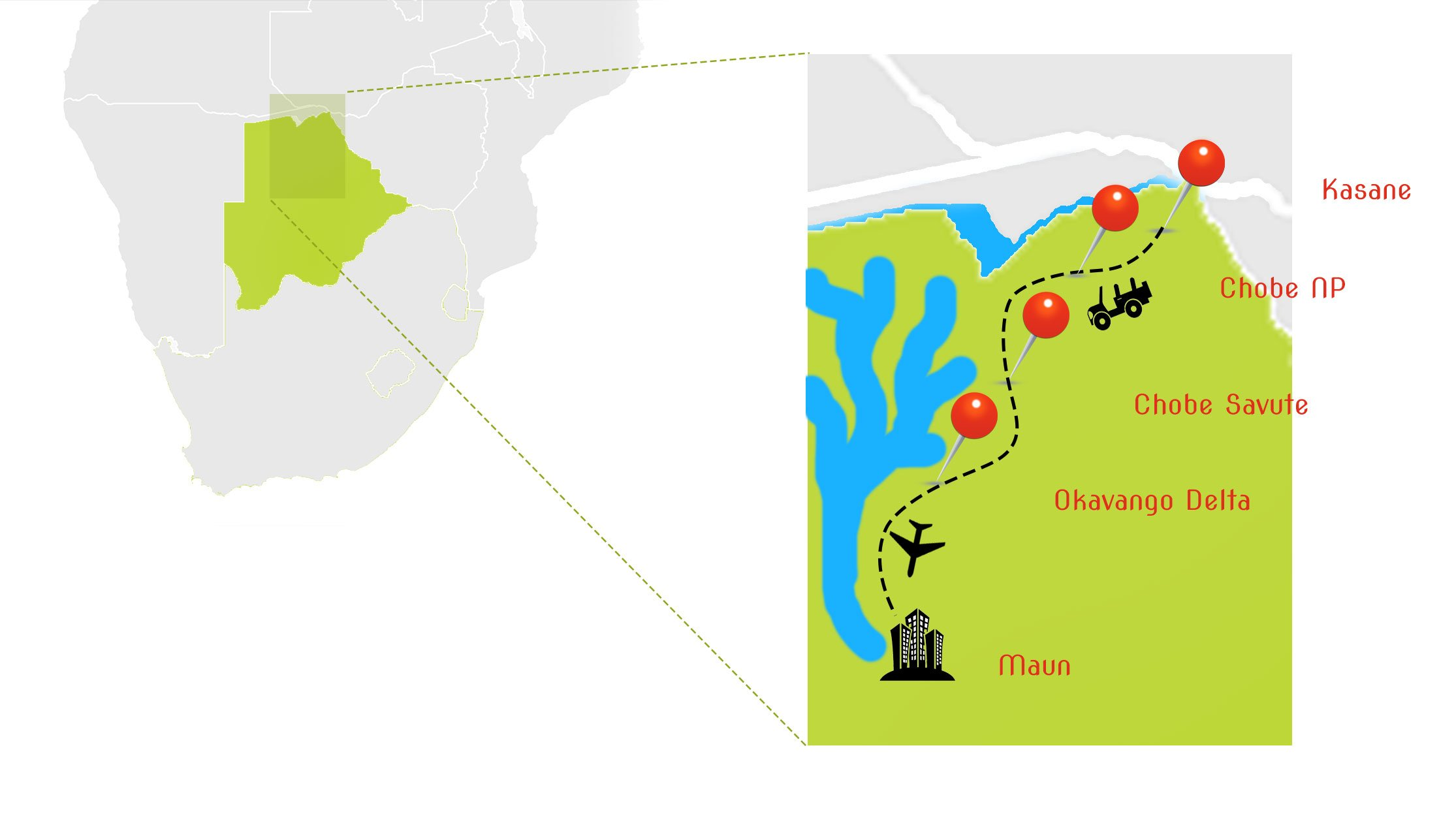 Map-botswana Krijn van der Giessen Photo Tour