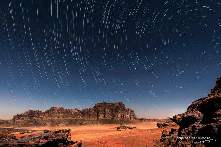 Wadi Rum desert jordan startrails copyright by Krijn van der Giessen Photography