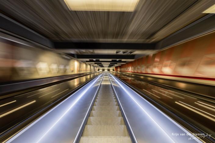 Moving escalator Stockholm Metro