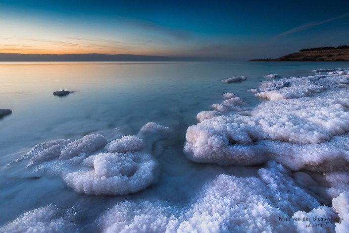 Salt Crystals Dead Sea during sunset in Jordan copyright by krijn van der Giessen Photography