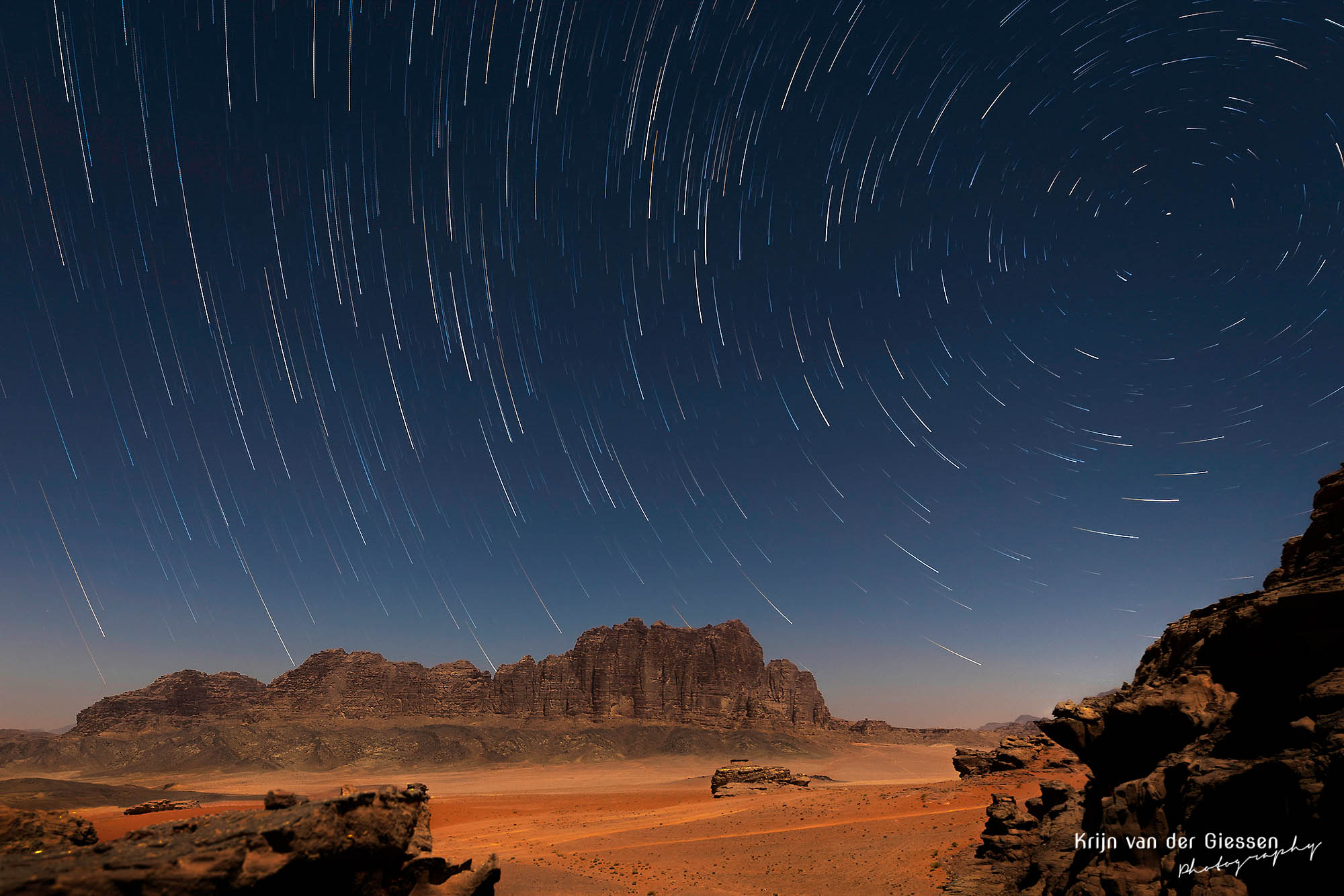 Star Trails over the Wadi Rum Desert in Jordan copyright by Krijn van der Giessen Photography