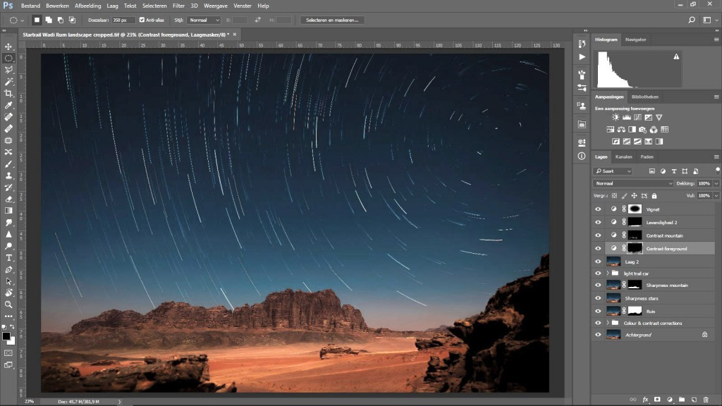 Photgraphing Star Trails photoshop edit