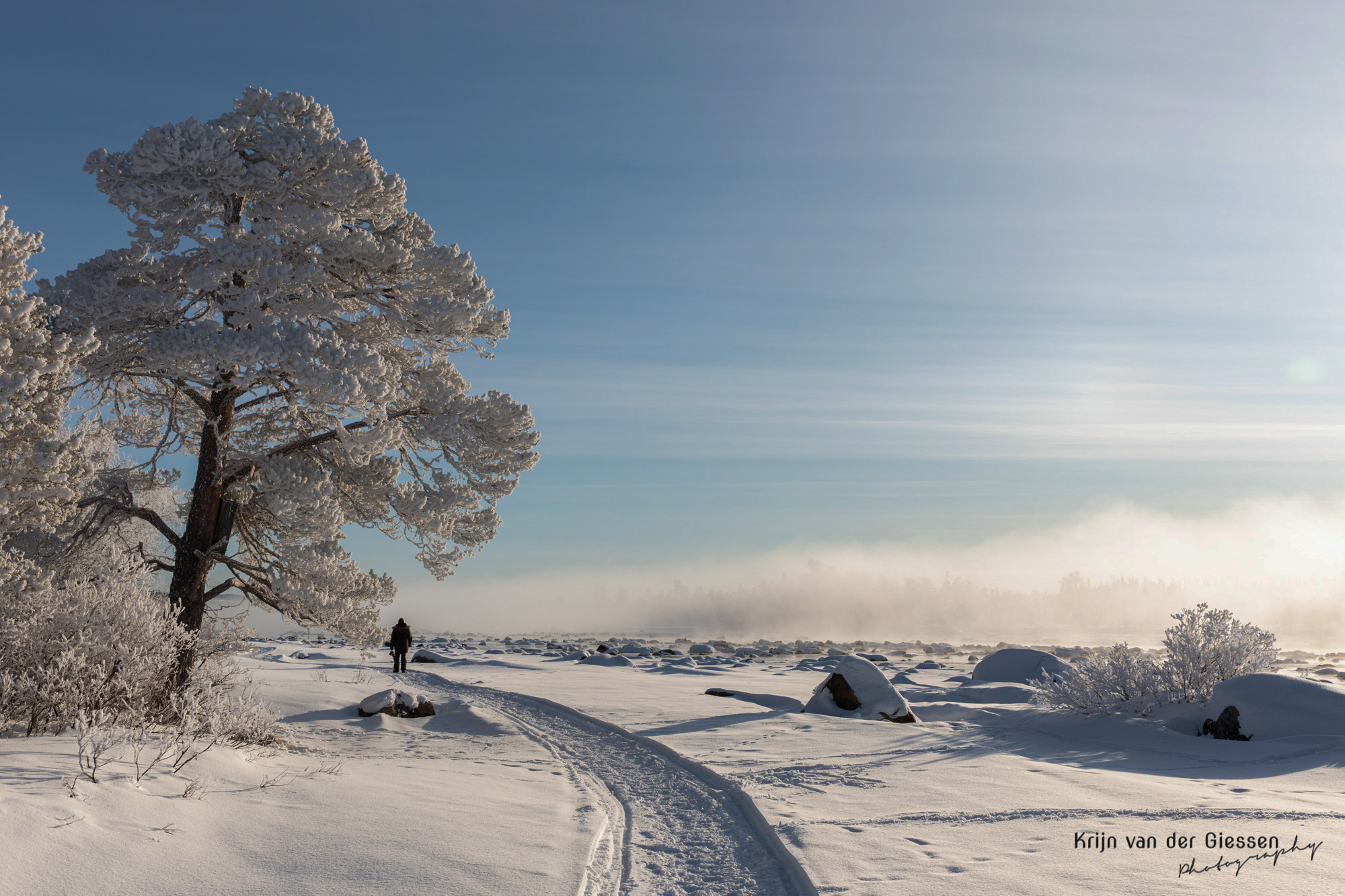 Underexposed snow landscape