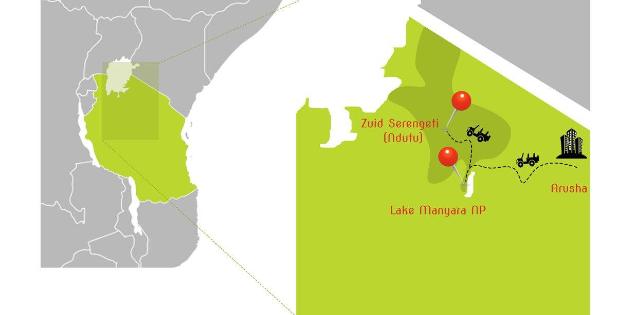 Map tanzania Photo Tour Krijn van der Giessen Photography