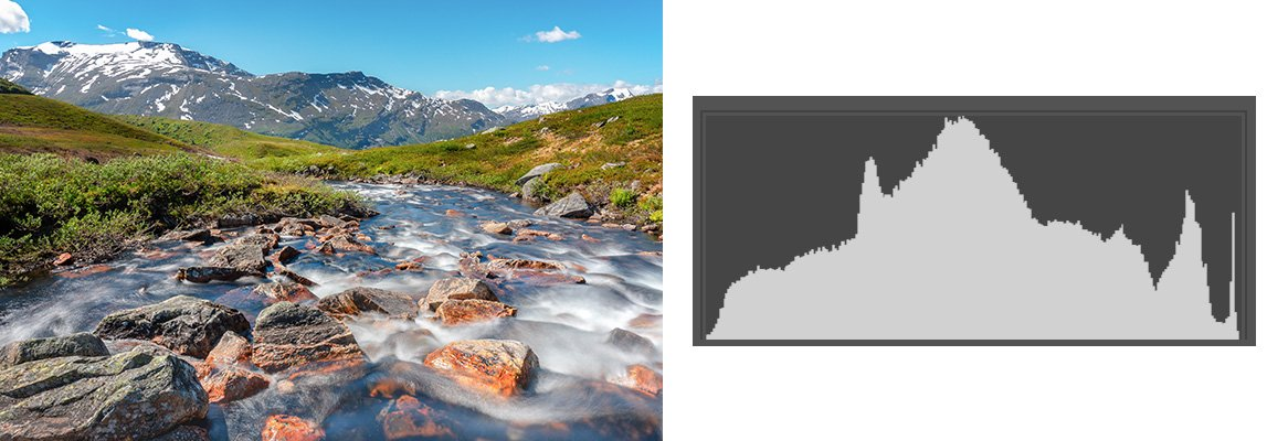 Hisotgram van een perfect belicht landschap