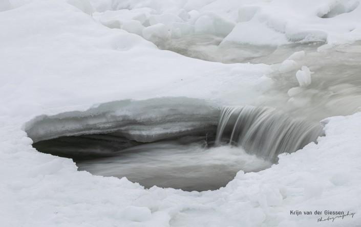 Storforsen waterfall long exposure black and white in Sweden Lapland Copyright by Krijn van der Giessen Photography