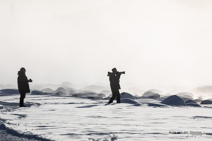 Photographer in snow and fog silhouette in Sweden Lapland Copyright by Krijn van der Giessen Photography