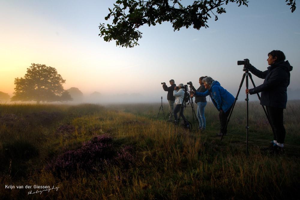 Fotograferen fotograferen zonsopkomst in de mist in Drenthe